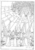 Angels playing with kids while second coming of Jesus Christ coloring page download free PPT template background pictures and religious photos