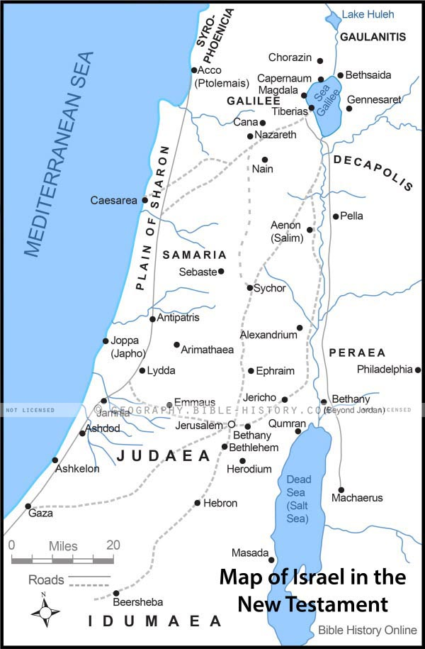 Map of Israel in the Time of Jesus with Roads